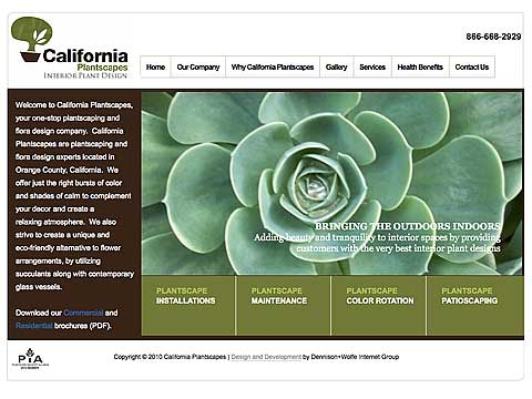 Image of California Plantscapes website project by Dennison+Wolfe